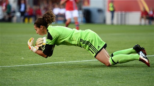 Spanish goalkeepr Ainhoa Tirapu in action, during the Women's Euro 2013 quarter-final soccer match between Norway and Spain, at Kalmar Arena in Kalmar, Sweden, Monday July 22, 2013.    (AP Photo/Scanpix Sweden/Patric Soderstrom)    SWEDEN OUT