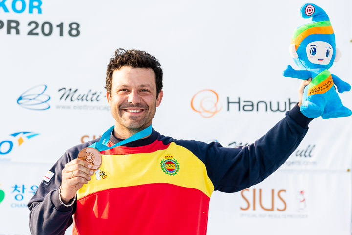 CHANGWON - APRIL 29: Bronze medalist Juan Jose ARAMBURU of Spain competes in the Skeet Men Final at the Changwon International Shooting Range during Day 8 of the ISSF World Cup Rifle/Pistol/Shotgun on April 29, 2018 in Changwon, Republic of Korea. (Photo by Nicolo Zangirolami)