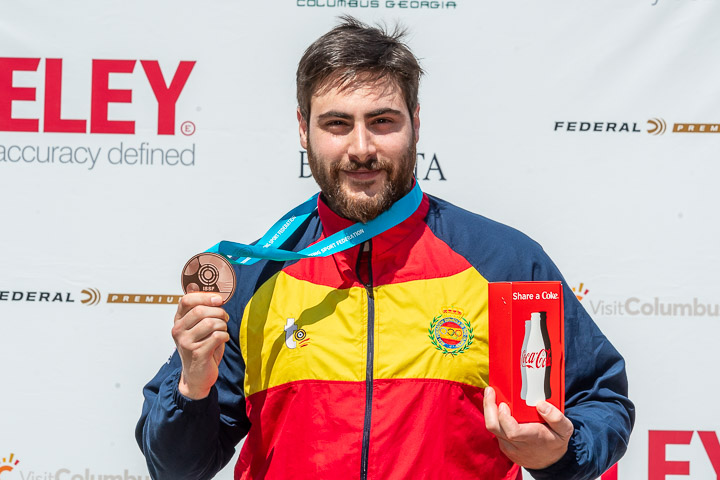FORT BENNING - MAY 9: Bronze medalist Pablo CARRERA of Spain competes in the 10m Air Pistol Men Final at the Shooting Range of the United States Army Marksmanship Unit during Day 1 of the ISSF World Cup Rifle/Pistol on May 9, 2018 in Fort Benning, Georgia, United States of America. (Photo by Nicolo Zangirolami)